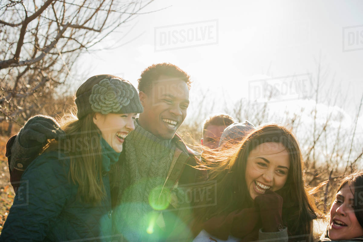 A group of friends on a winter walk.  Royalty-free stock photo