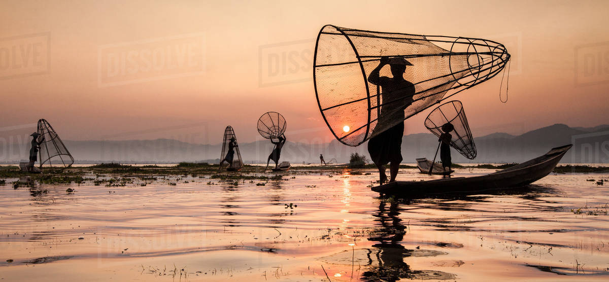 Fishermen on Inle Lake, Myanmar Royalty-free stock photo