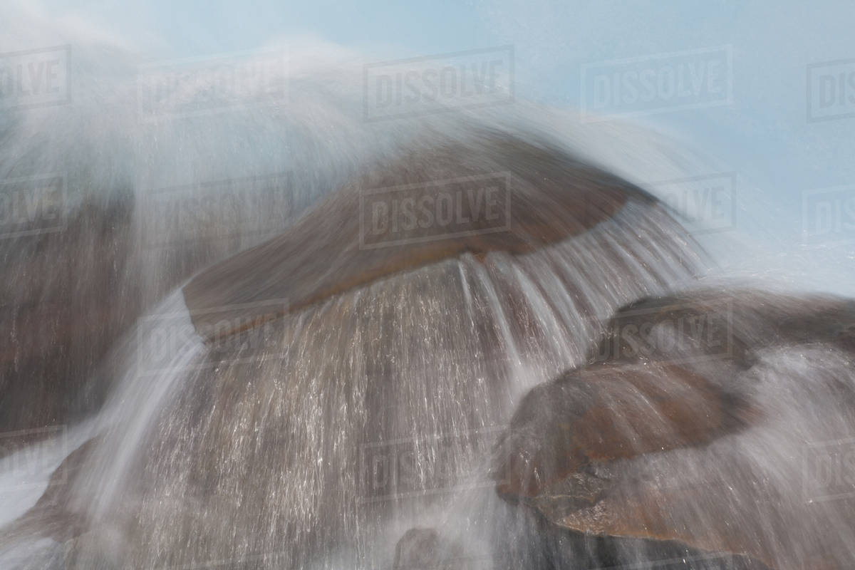 A time lapse image of a Patagonian stream flowing over the rocks in Los Glaciares National Park, Argentina Royalty-free stock photo