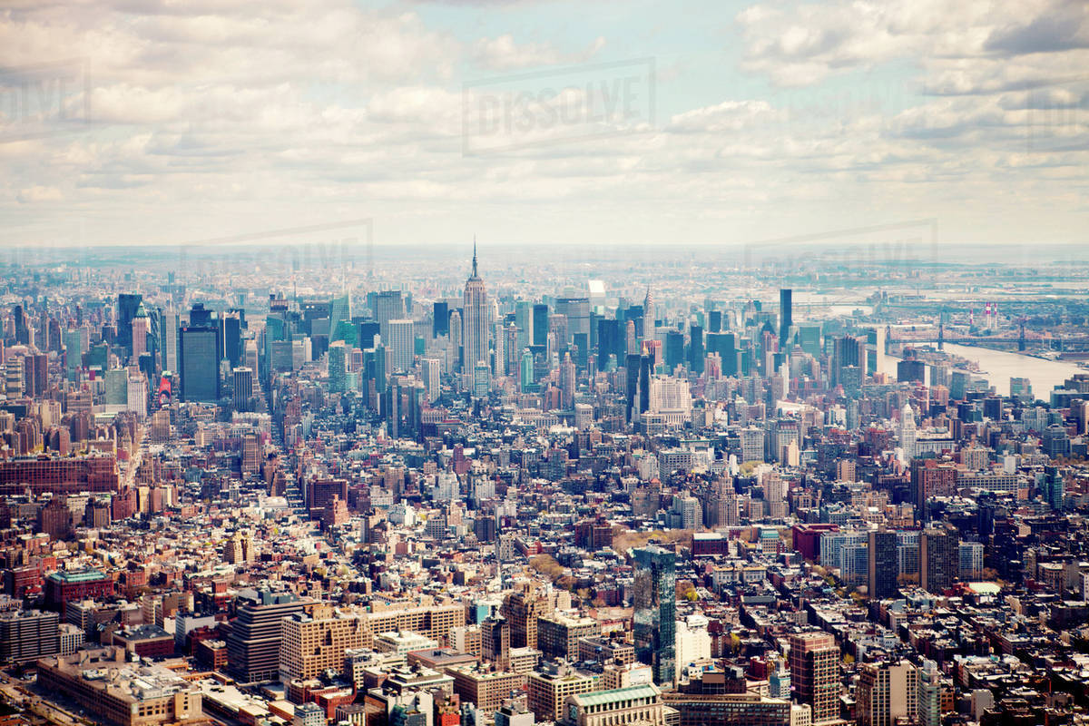 Aerial view of New York City against sky Royalty-free stock photo