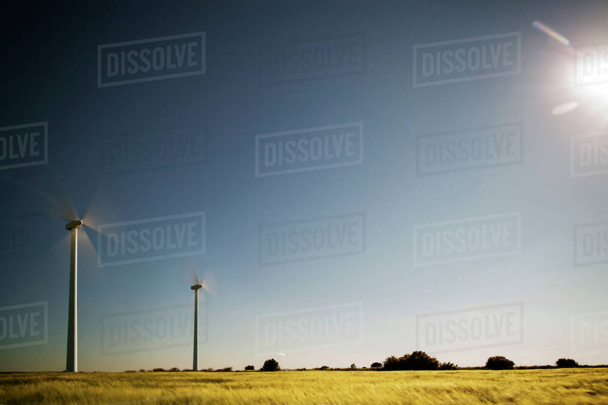Wind turbines on field against clear sky Royalty-free stock photo