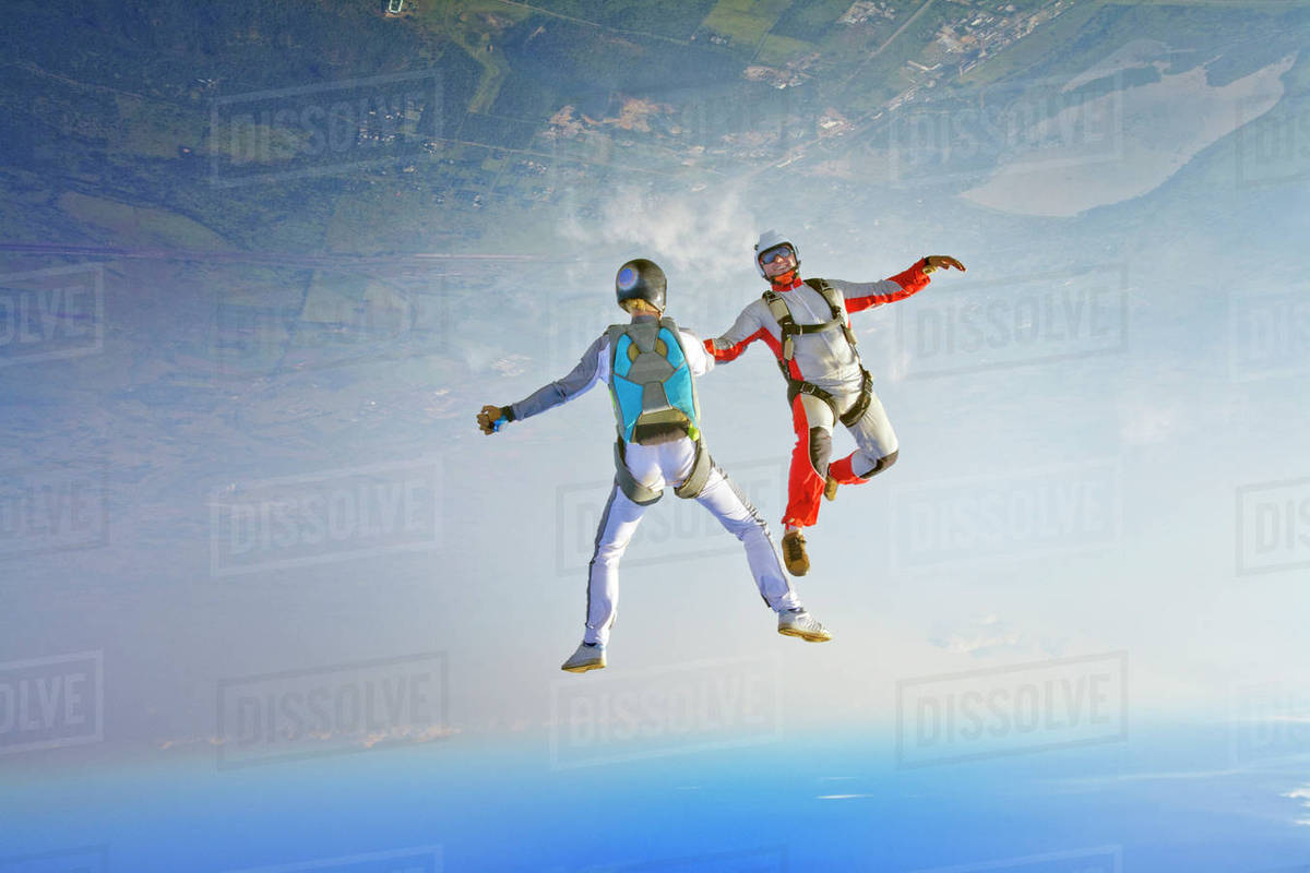 Aerial view of skydivers in air Royalty-free stock photo