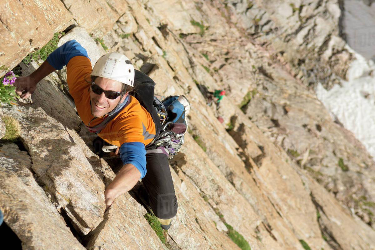 A man rock climbing on the Diamond, Rocky Mountain National Park, Estes Park, Colorado. Royalty-free stock photo
