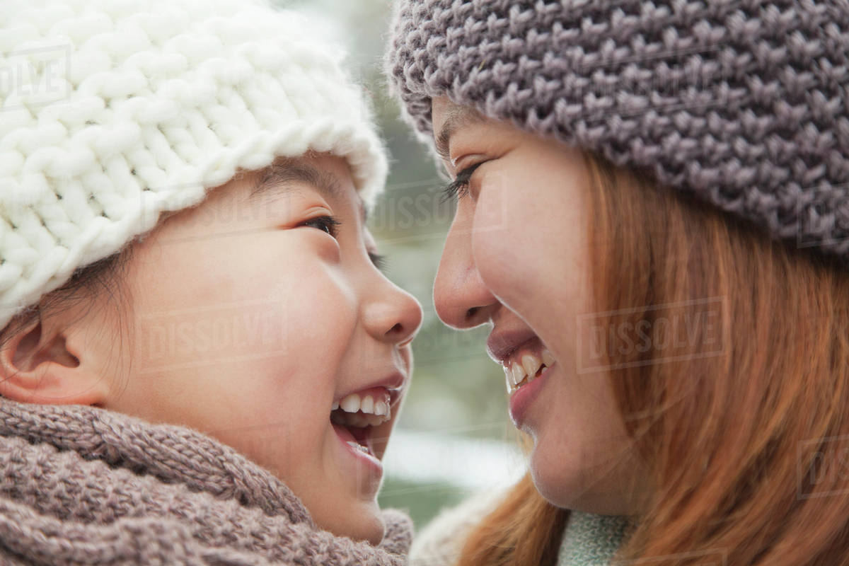 Mother and daughter nose to nose portrait Royalty-free stock photo
