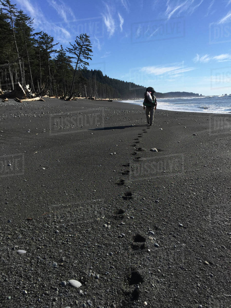 Rear view of man walking on shore at beach Royalty-free stock photo