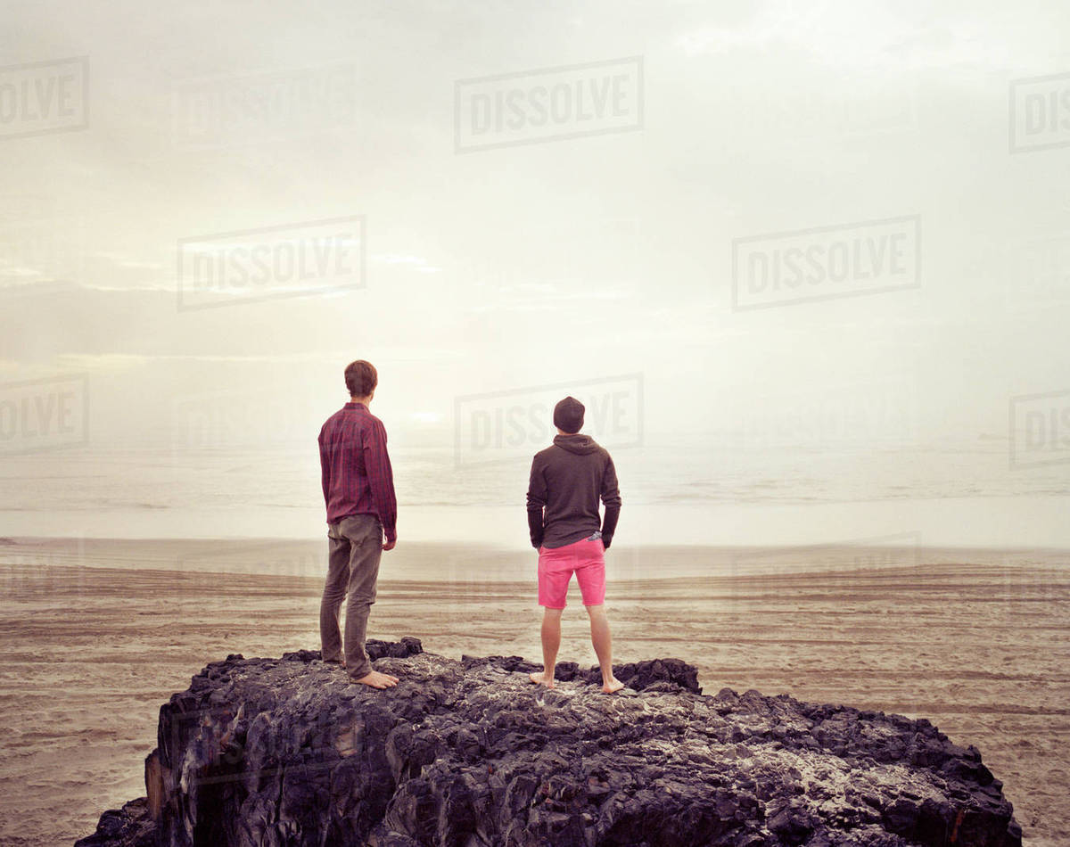 Friends standing on rock in sea against sky Royalty-free stock photo