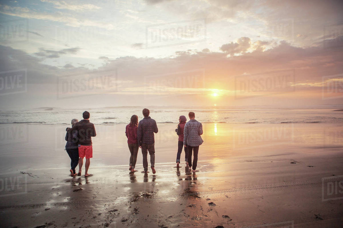 Rear view of couples walking on shore at beach during sunset Royalty-free stock photo
