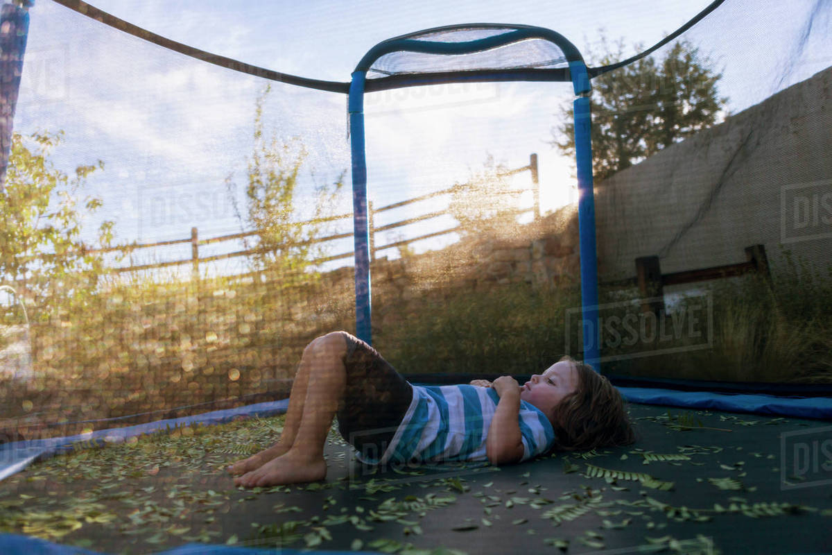 Boy relaxing on trampoline in backyard seen through net Royalty-free stock photo