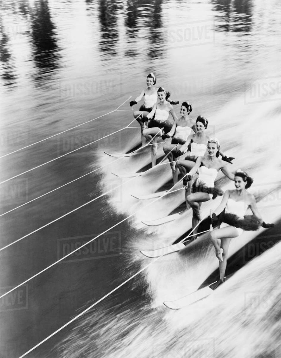 Row of women water skiing Royalty-free stock photo