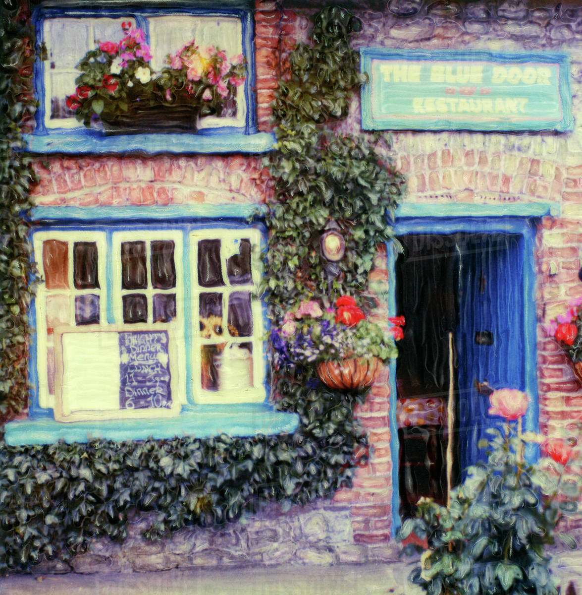 Europe, Ireland, Adare, Blue Door Restaurant. Window and door of restaurant  Polaroid SX70 Manipulation Royalty-free stock photo