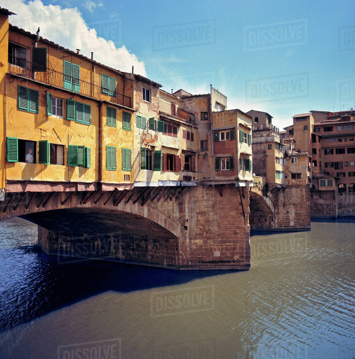 Europe, Italy, Florence. The Ponte Vecchio, a World Heritage Site, spans the Arno River in Florence, Italy. Rights-managed stock photo