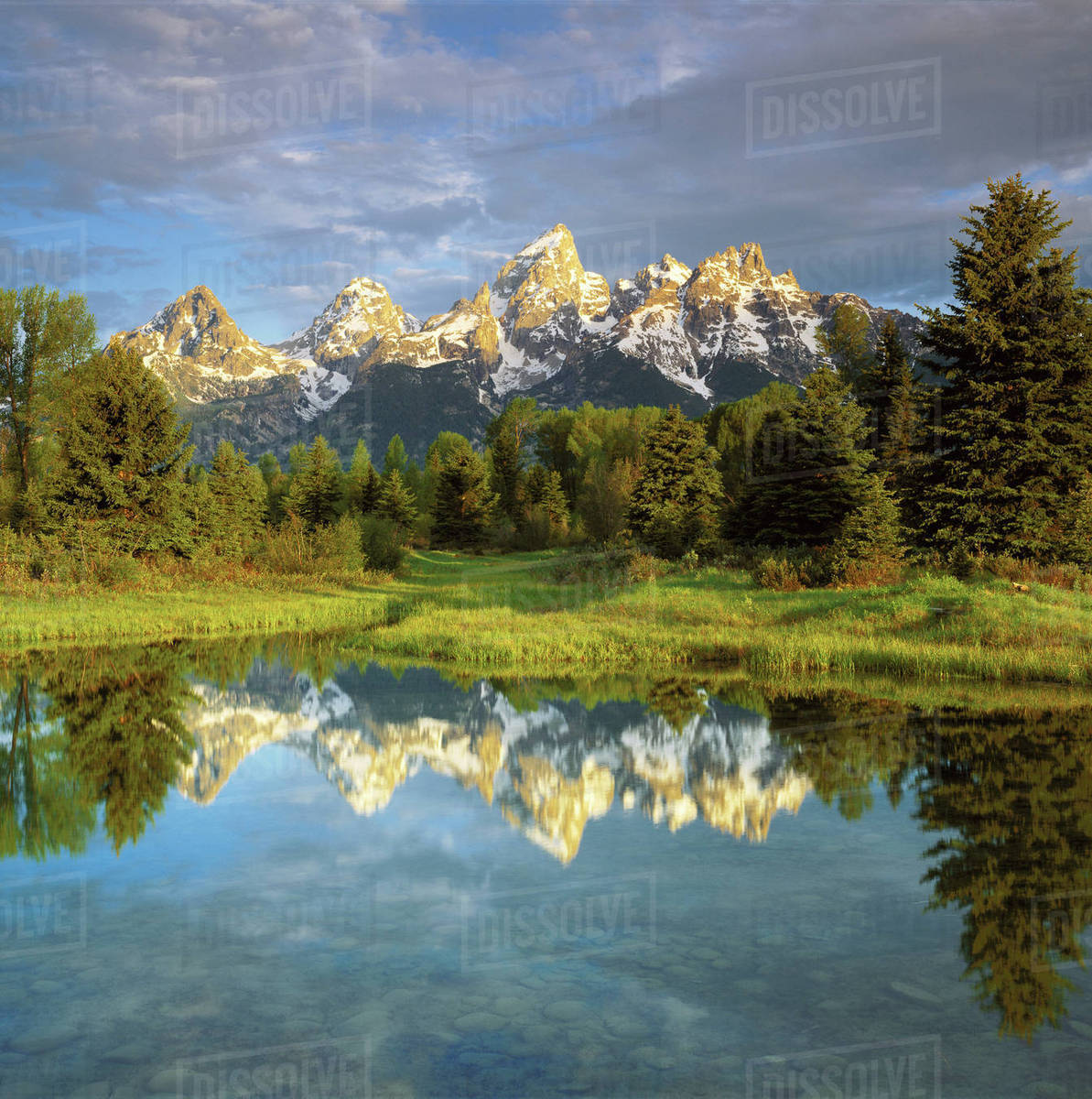 USA, Wyoming, Grand Teton National Park. Grand Teton Mountains reflecting in the Snake River. Rights-managed stock photo