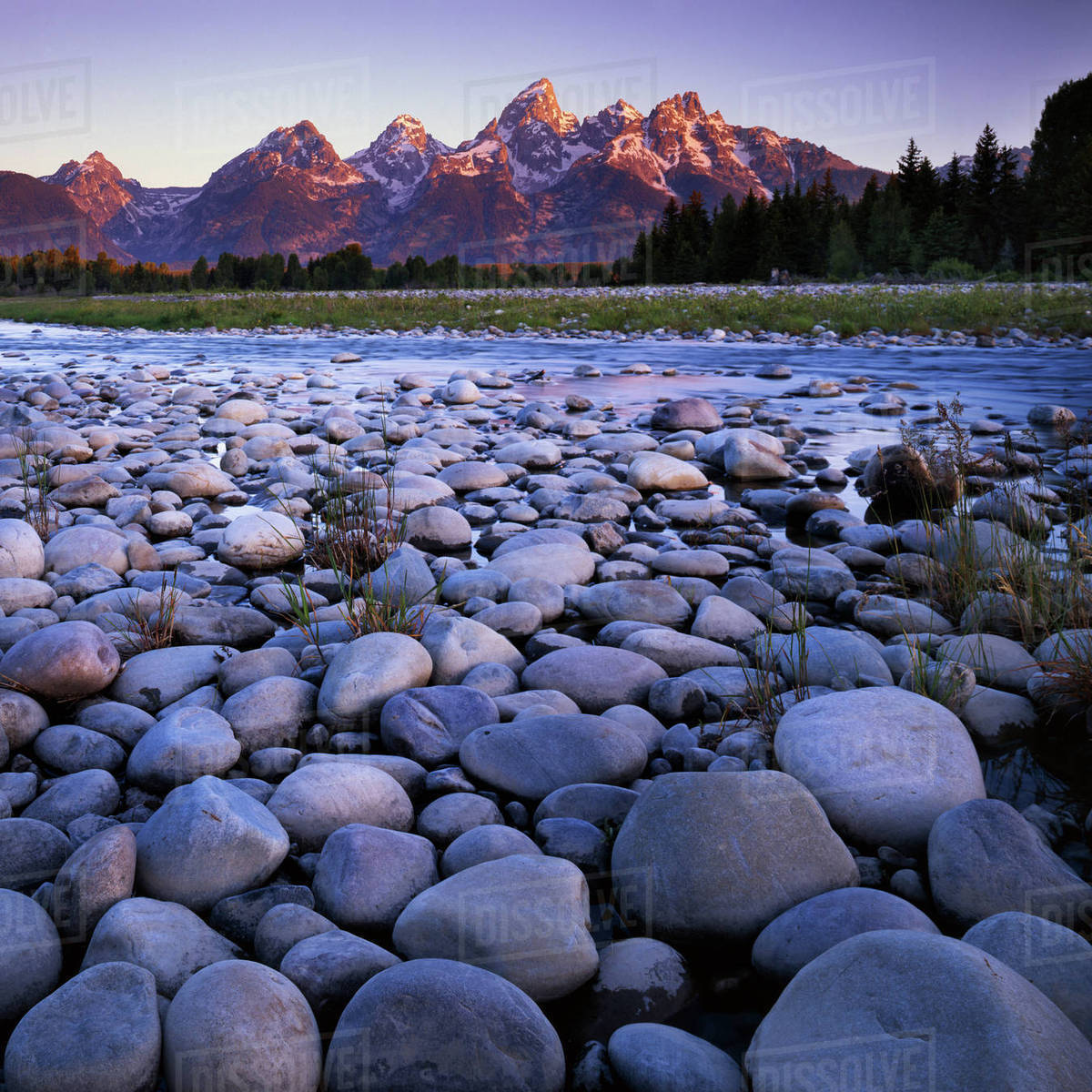 USA, Wyoming, Teton National Park, the Snake River, Teton Range Rights-managed stock photo