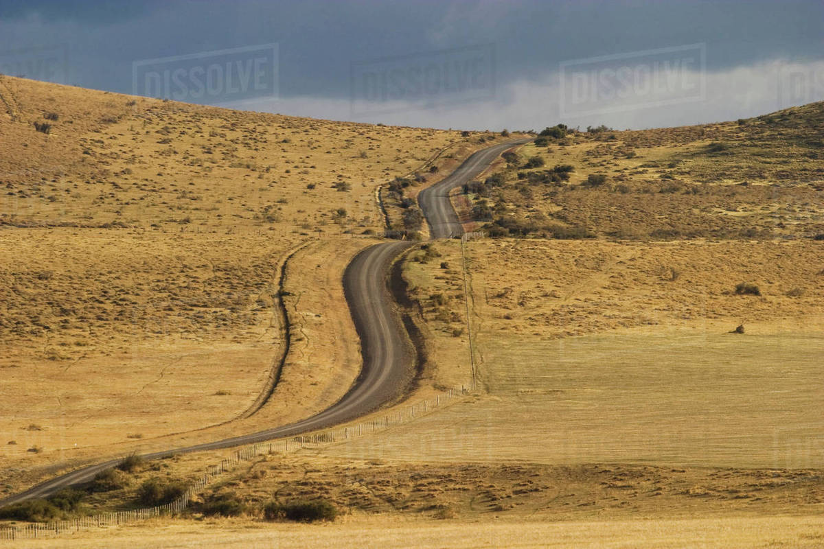 Empty road, Patagonia, Torres del Paine National Park, Chile Royalty-free stock photo
