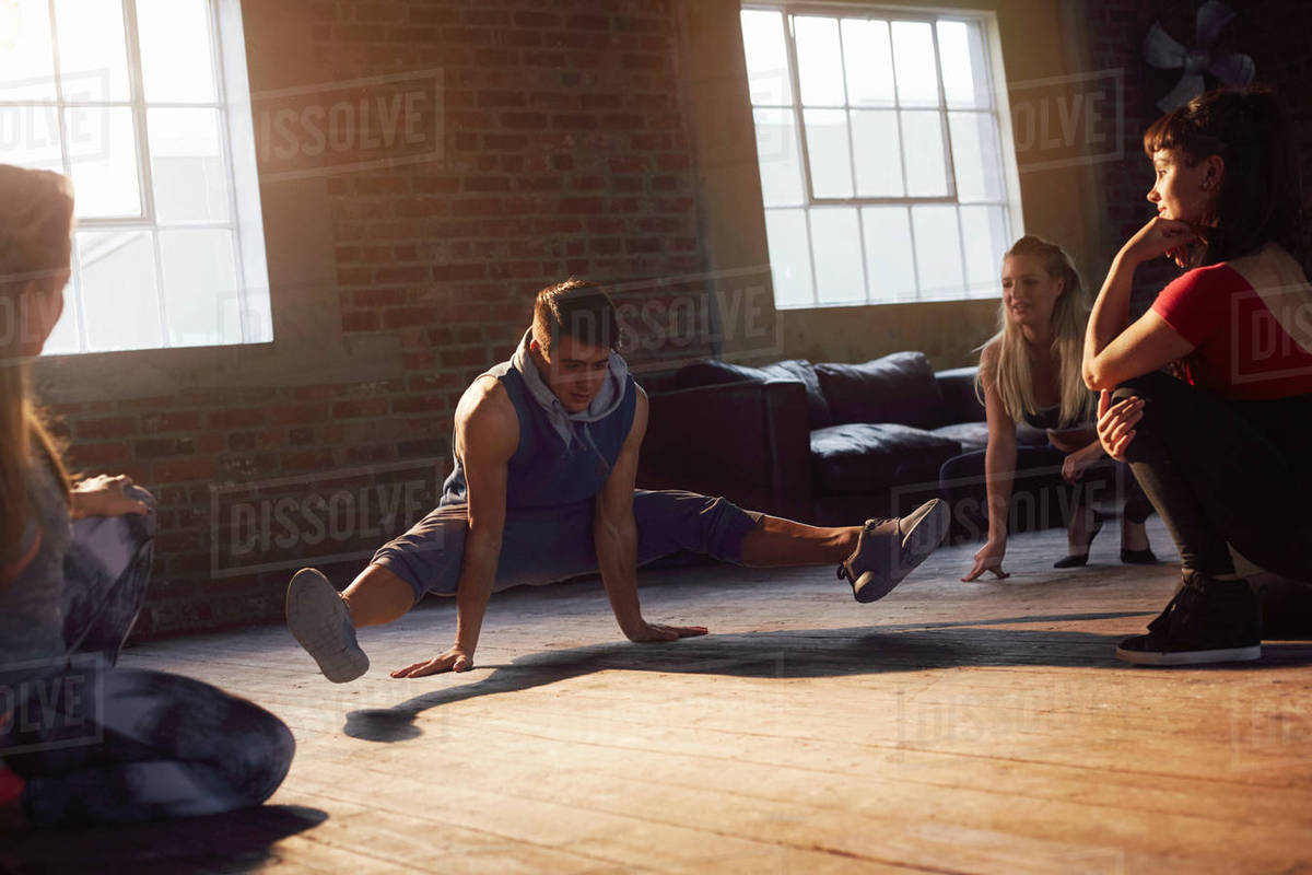 Young hip hop dancers practicing in studio Royalty-free stock photo