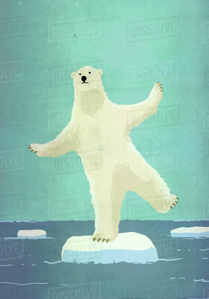 Illustrative image of polar bear balancing on iceberg in sea representing global warming Royalty-free stock photo